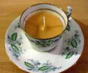 Teacup candle - using green and white vintage porcelain tea cups.